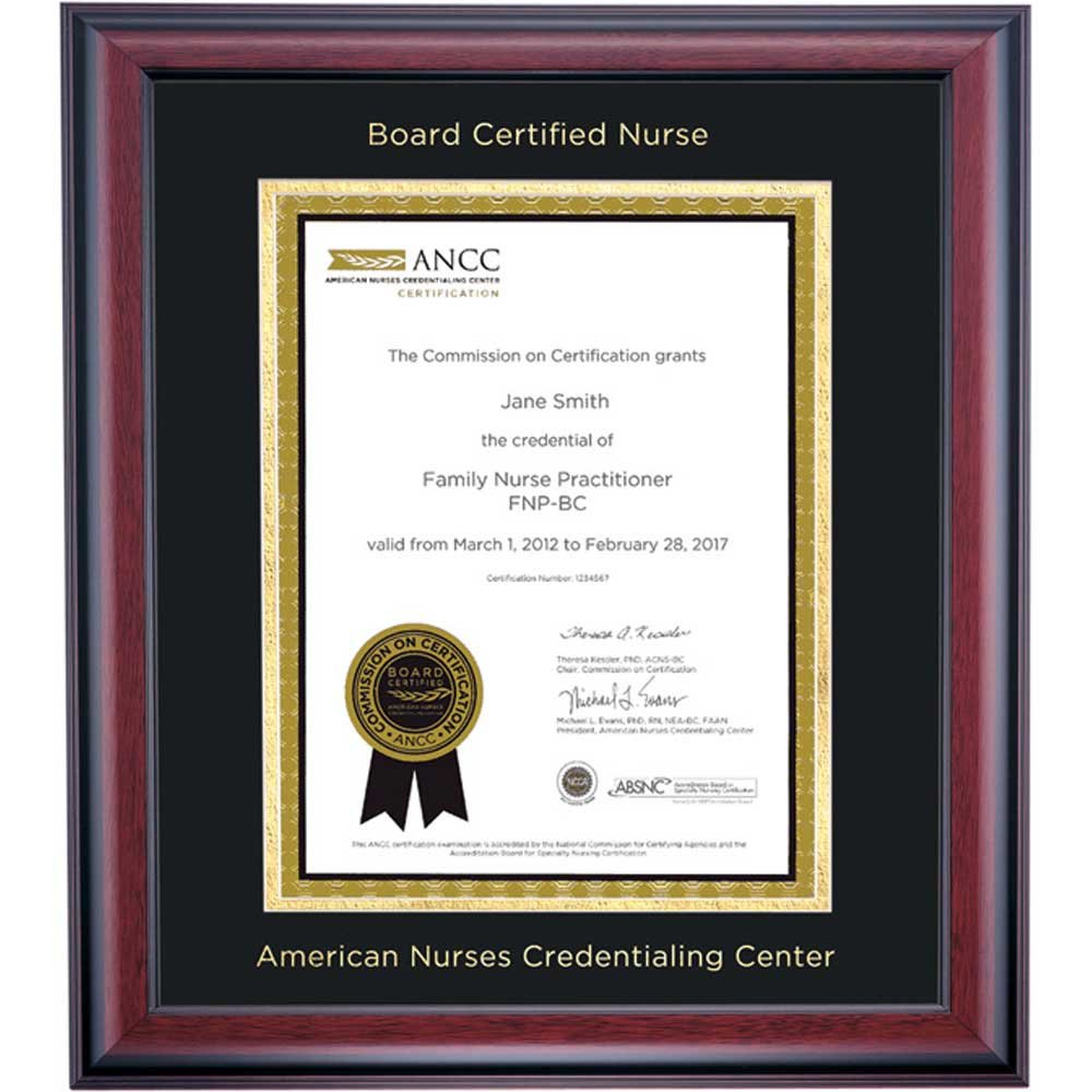 Campus Linens American Nurses Credentialing Center Certificate Frame Black Gold Matting Embossed