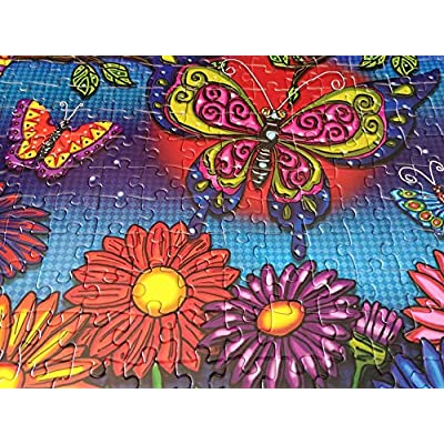 JaCaRou Puzzles Flowers and Butterflies 300 XXL Pieces Jigsaw Puzzle: Toys & Games
