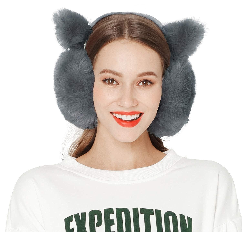 Womens Knit Earmuffs for Snow and Cold Season Winter Outdoors Ear Muffs Gray ELA16120084