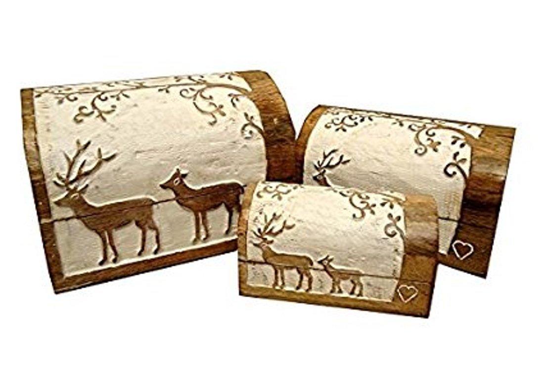Icrafts India Boîte à bijoux en bois sculpté à motif cerf - boîte de rangement décorative, cadeau idéal pour une femme
