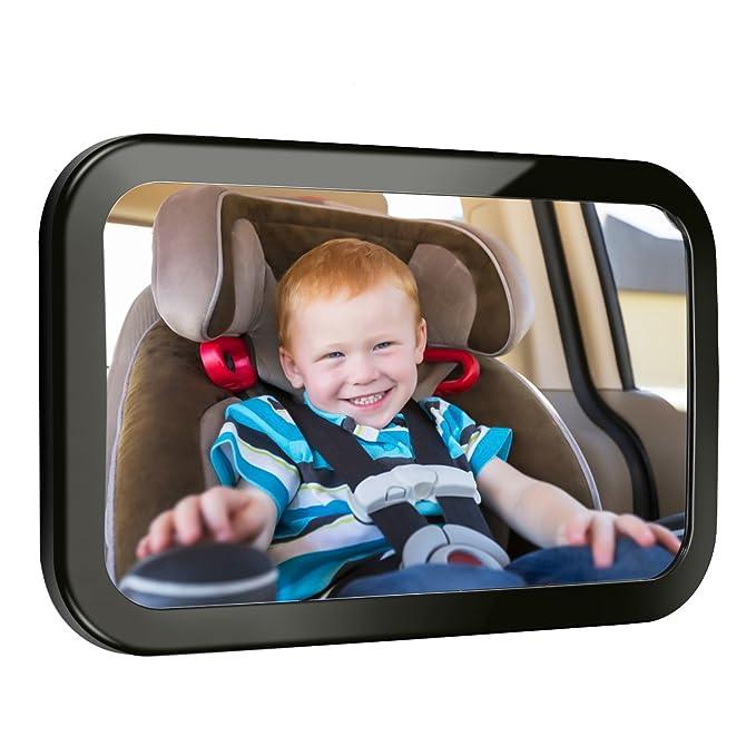 Audew Espejo Retrovisor Coche para Vigilar al Bebé en el Coche, 360° Ajustable Irrompible Interior Espejo Coche Bebé, para Los Asientos de Niños Orientados ...
