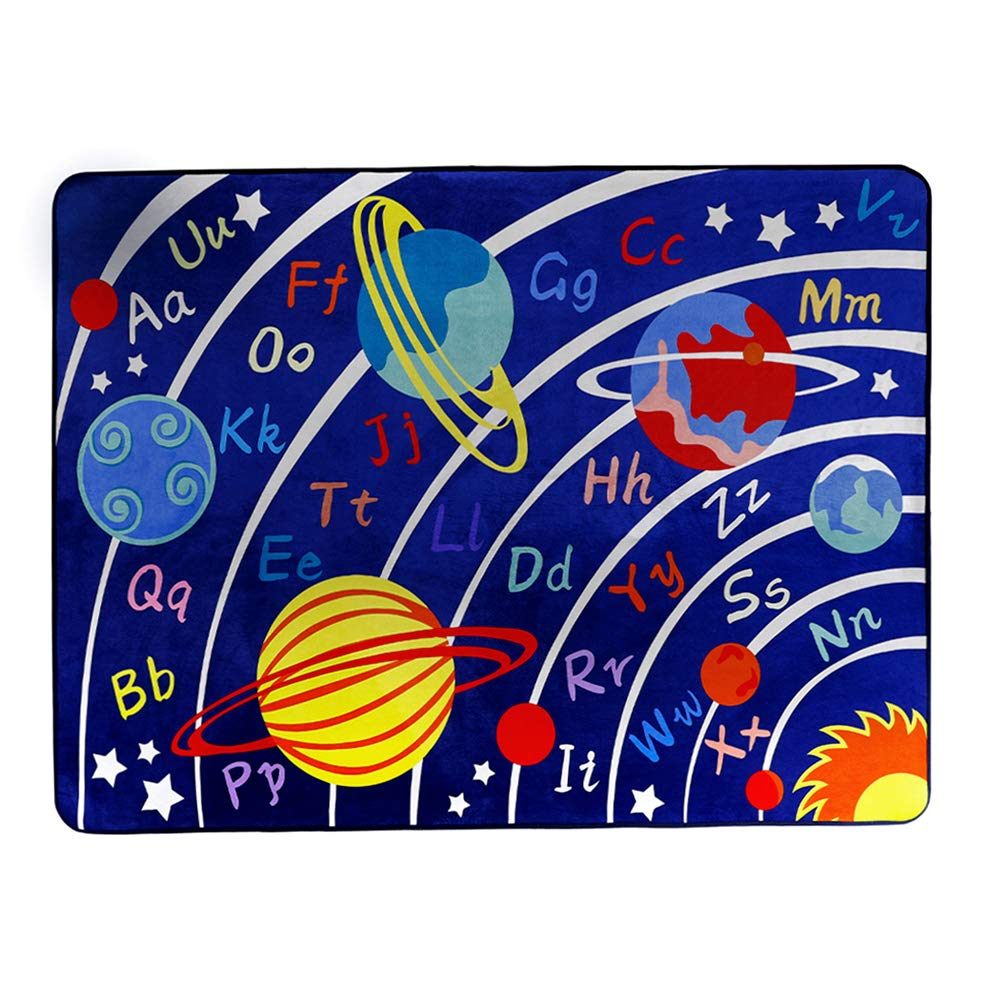 LISIBOOO Educational Kids Area Rugs, Playtime Collection ABC Numbers Animal Large Carpet Vibrant Alphabet Play Mat, for Children Bedroom Living Room Nursery Classroom (2'7''x3'11'', Cosmic Planet) by LISIBOOO