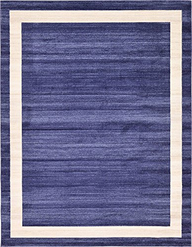 Unique Loom Del Mar Collection Contemporary Transitional Navy Blue Area Rug (10' 0 x 13' 0) - Navy Blue Center