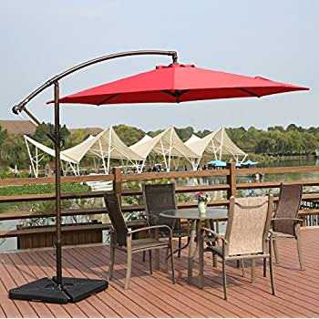 AMT Deluxe Adjustable Offset Cantilever Hanging 10u0027 Patio Umbrella With  Cross Base And Crank, Dark Red