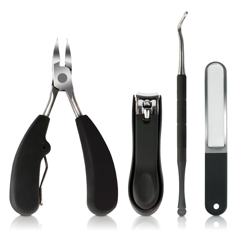 Precise Toenail Clippers, Stainless Steel Nail Nippers Tool Set for Ingrown and Thick Toenails with Nail Clipper Nail File and Nail Lifter for Perfect Pedicure and Manicure CS0598