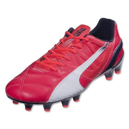 466cac06be5c1 Puma Mens Evospeed 1.3 LTH FG Shoes, Bright Plasma/White/Peacoat Size 8