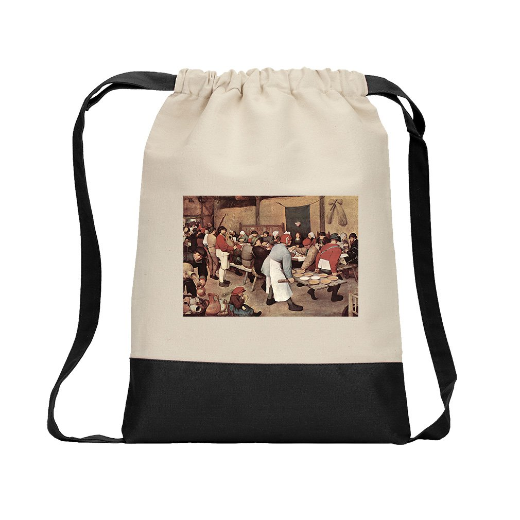 Country Wedding (Bruegel) Canvas Backpack Color Drawstring Bag - Black