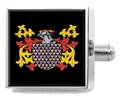 Select Gifts Checky England Family Crest Surname Coat Of Arms Cufflinks Personalised Case