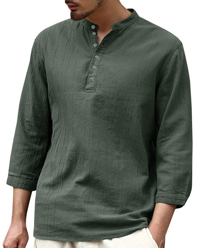 Pxmoda Mens Long Sleeve V Neck Henley T Shirt Hip Hop Fashion Loose Fit Linen Shirts Tops (XL, Army Green)