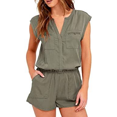 5641ef19ce09 Amazon.com  Women Short Romper Summer Sexy Cute V Neck Playsuit One Piece  Jumpsuit Jumper with Pockets Elastic Waist Playsuit  Clothing