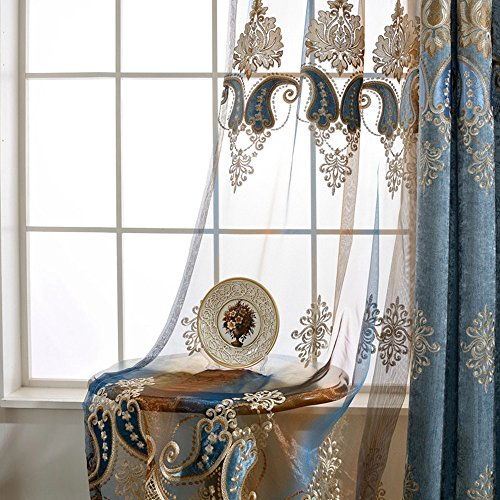 Embroidered Edge - AiFish Embroidered Sheer Curtains Beautiful Edge Chili Peppers Elegant Lace Window Treatment Drape Panels Rod Pocket Voile Tulle Curtains for Sliding Glass Door Living Room 1 Panel W75 x L84 inch