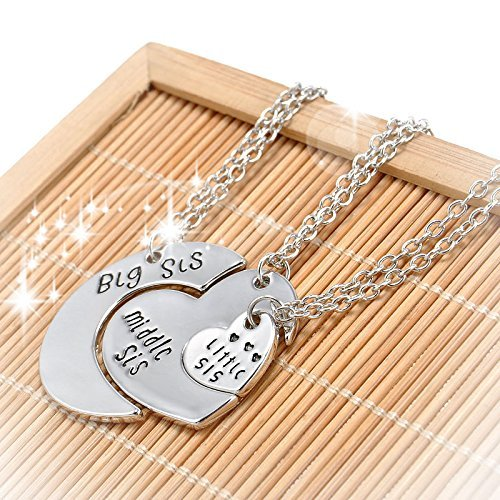 Tiffany Rose Bracelet (Hot Family Gift Big Middle Little Sister Heart Pendant Silver Plated Necklace)