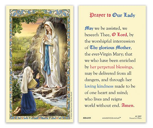 (25pc Our Lady of Lourdes Holy Card )