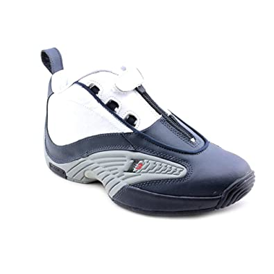 6ffb6ad7923159 Reebok Answer IV Youth Boys Blue Leather Basketball Shoes Size UK 4 ...
