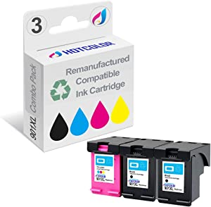 HOTCOLOR Remanufactured Ink Cartridge Replacement for HP 901XL 901 CZ722FN CC654AN CC656AN High Yield Compatible with Officejet 4500 G510a 4500 G510g 4500 Printer (2 Black 1 Color, 3-Pack)