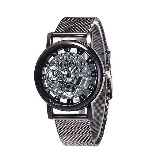 Relojes Hombre con Patrón de Engranaje Retro Calado, Escala de Números Romanos Correa de Malla Negra Relojes de Pulsera Casual de Cuarzo, ...