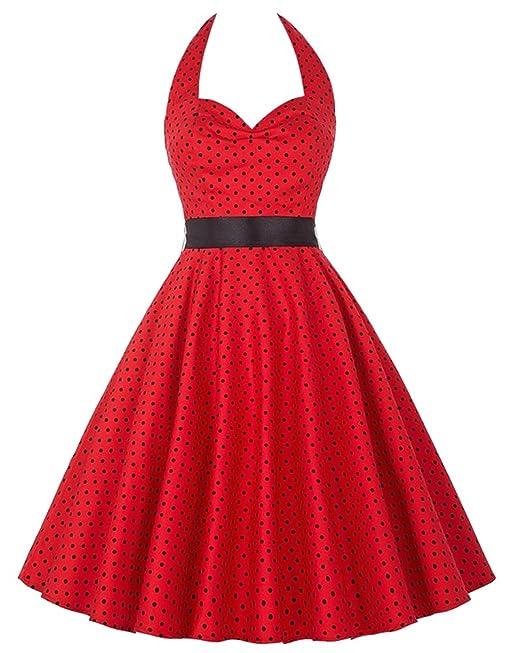 Kasen Vestidos Vintage Años 50 Halter Retro Cóctel Fiesta Mujer Rojo S