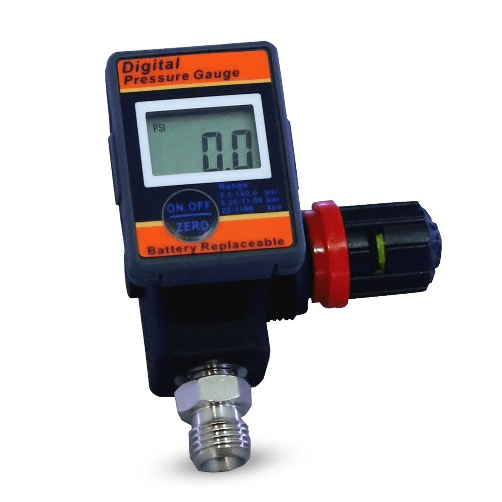 LE LEMATEC Digital Air Gauge Regulator with Locking Adjustment Valve for Air Compressors