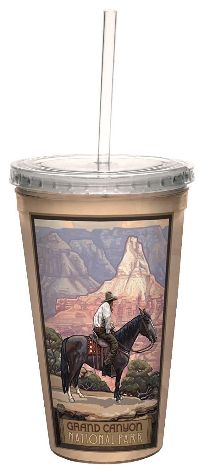 Tree-Free Greetings cc33128 Vintage Grand Canyon National Park Cowboy by Paul A. Lanquist Artful Traveler Double-Walled Cool Cup with Straw, 16-Ounce