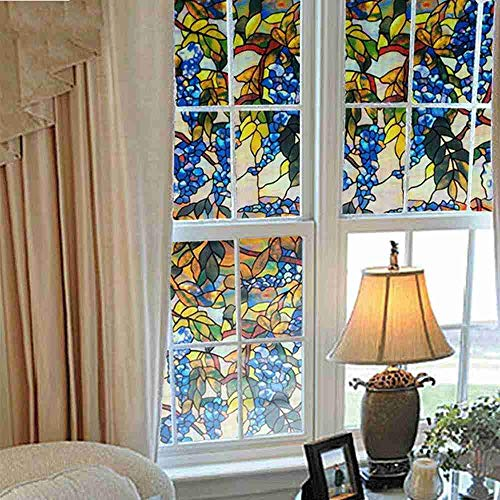 Robert Window sticker Decorative Window & Glass Films Price Pattern with Purple Garden Colour/Opaque/Frosted Static Cling No Glue Window Sticker,90x200cm(35.4〃x78.7〃)