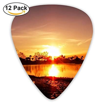 Sunset Scenery Wallpaper Fashion Celluloid Printing Guitar Picks 12 Pack