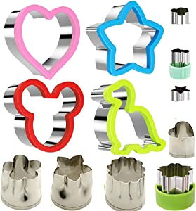 Stainless Steel Sandwiches Cutter set, Mickey Mouse & Dinosaur & Heart & Star Shapes Sandwich Cutters Cookie Cutters Vegetable cutters-Food Grade Cookie Cutter Mold for Kids (Big+Small, 12pack)