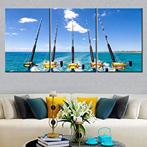 Canvas Wall Art Row of Five Fishing Rod and Reel Pictures Blue Seascape Paintings for Living Room Giclee Fishing Tackle Artwork HD Prints Modern Home Decor Framed Stretched Ready to Hang( 60''Wx28''H)
