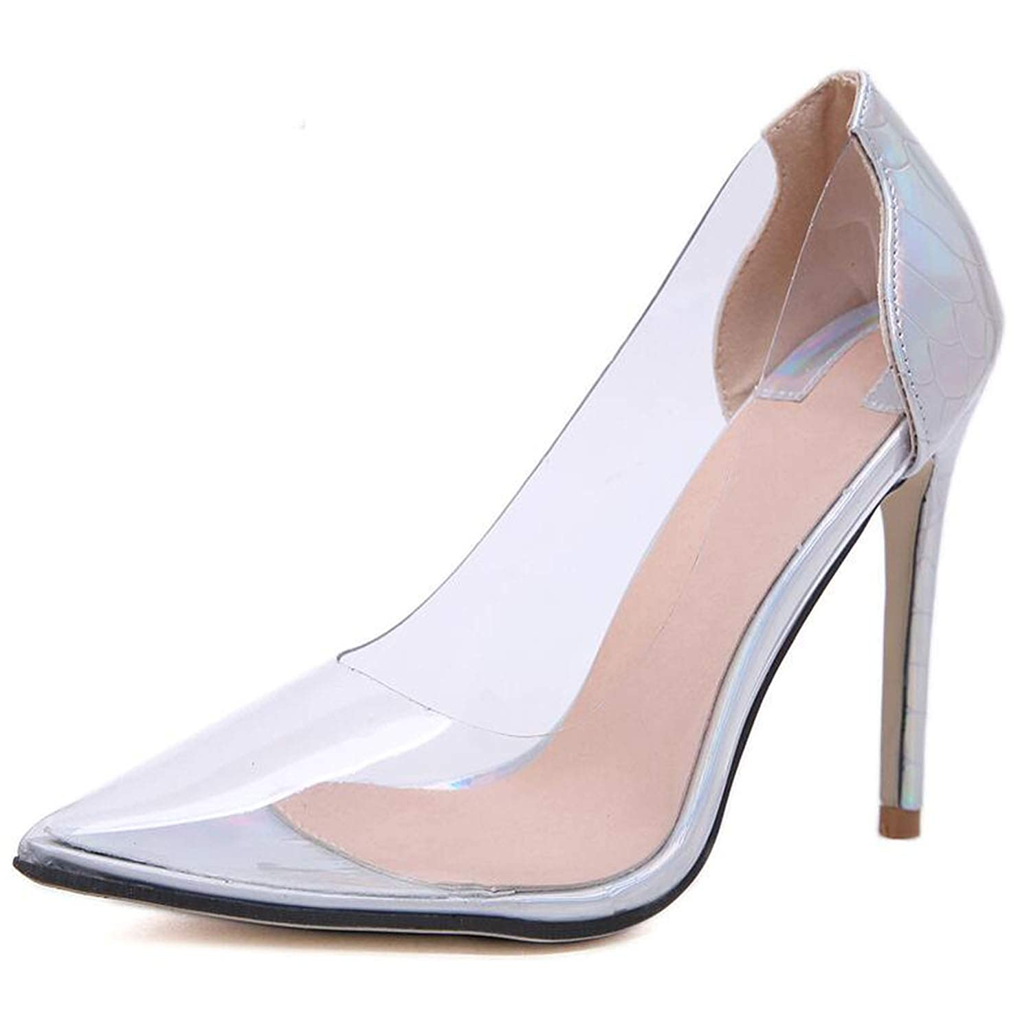 6b3309ac4 Amazon.com | rose flowers Women Pumps 2019 Transparent Super High Heels  Sexy Pointed Toe Slip-on Wedding Party Shoes | Pumps