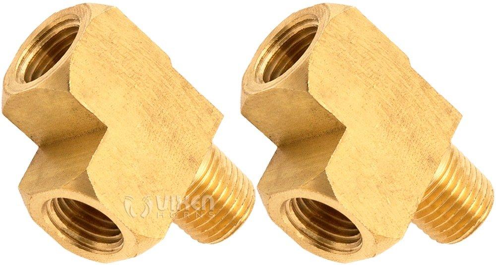 Vixen Horns 1/4' NPT Male (1) x 1/4' NPT Female (2) Tee Fitting Brass Material for Train/Air Horn Tanks (2 Pack) VXA7614-2