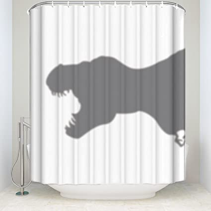 Crystal Emotion Animal Shower Curtain Scary And Funny Dinosaur Silhouette Shadow Print Bathroom Decor Polyester Fabric
