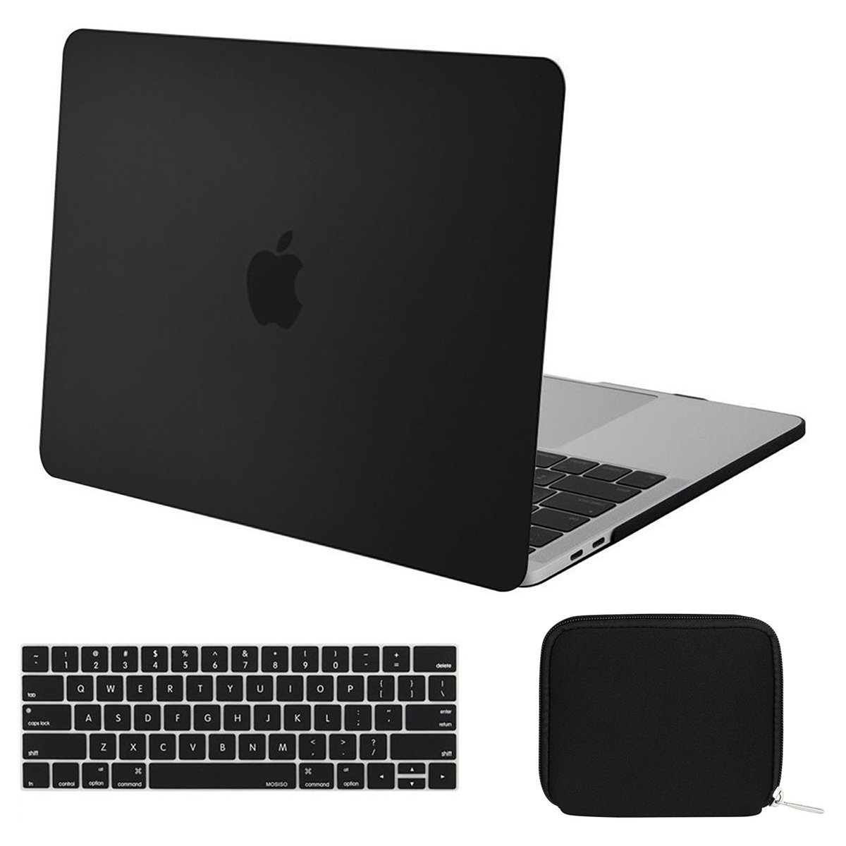 MOSISO MacBook Pro 15 Case 2018 2017 2016 Release A1990/A1707 with Touch Bar, Plastic Hard Shell & Keyboard Cover & Water Repellent Lycra Storage Bag Compatible Newest Mac Pro 15 Inch, Black