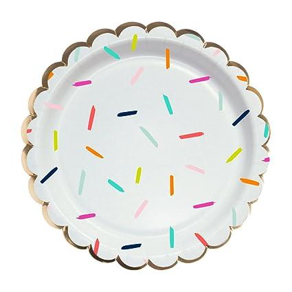 amazon com multi colored confetti foil design paper plates 8