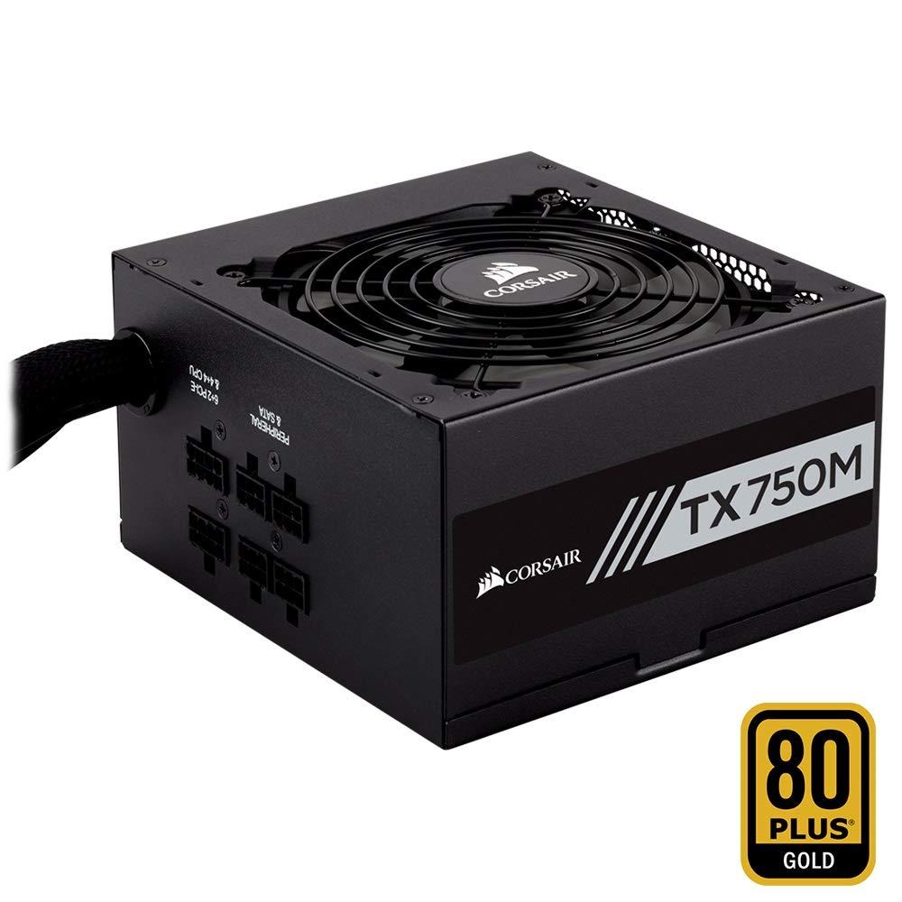 Corsair TX750M Alimentation PC (Semi-Modulaire, 80 PLUS Gold, 750 Watt, EU) CP-9020131-EU
