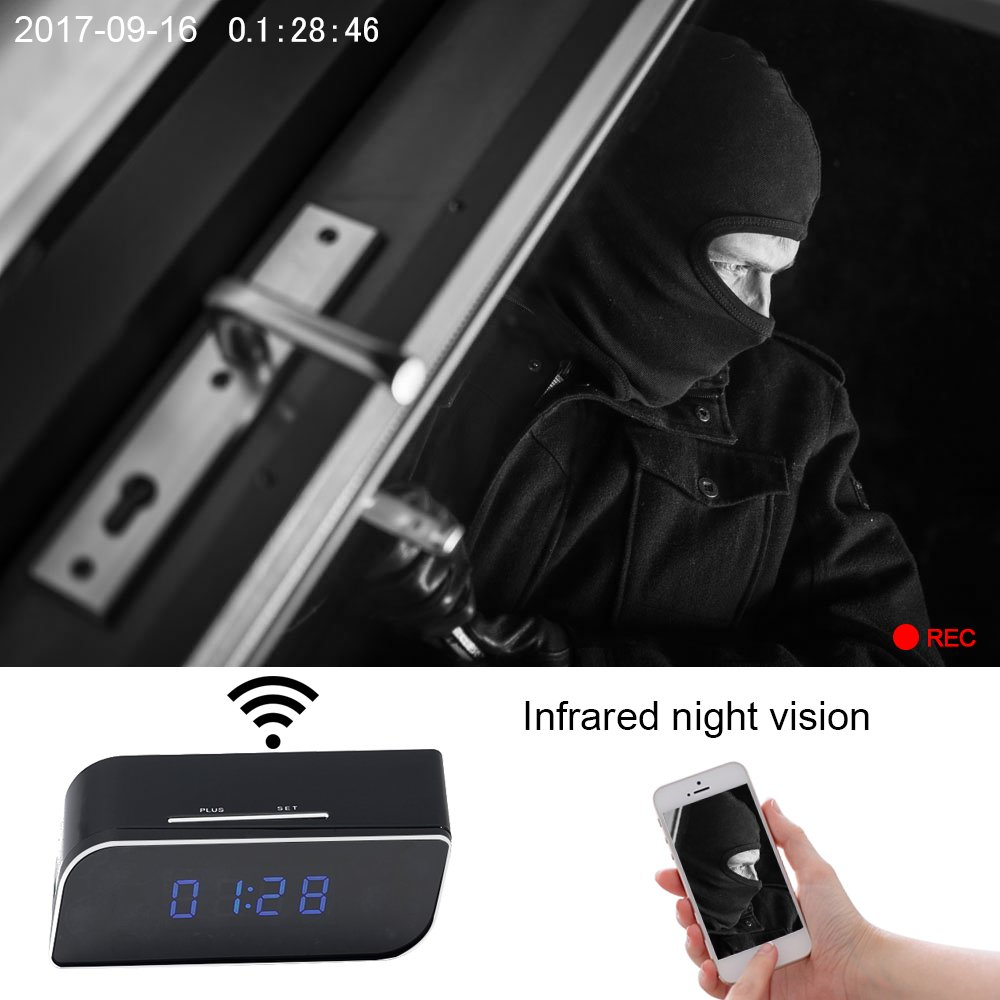 Spy Camera Clock EOVAS WiFi Hidden Spy Camera Clock Video Recorder Wireless IP Camera with Night Vision Motion Detection for Indoor Home Security Monitoring Nanny Cam