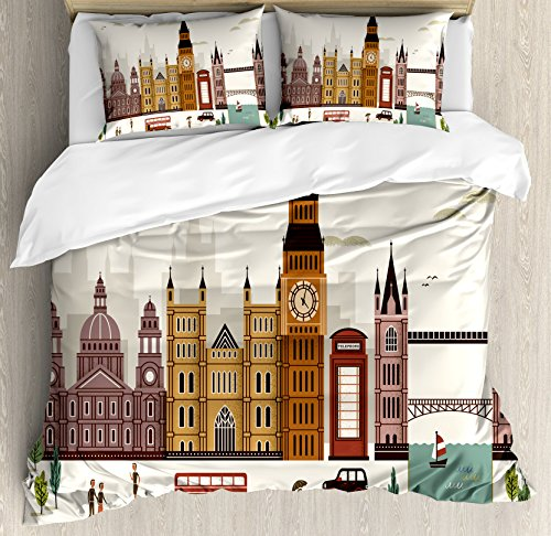 Ambesonne London Duvet Cover Set King Size, Travel Scenery Famous City England Big Ben Telephone Booth Westminster, Decorative 3 Piece Bedding Set with 2 Pillow Shams, Cream