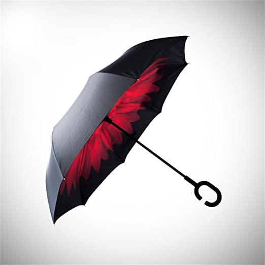 Longay C-Type Umbrella Handle can Stand rain Shine Dual Umbrella,Pink