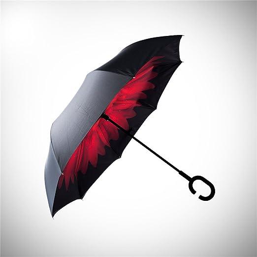 Longay C-Type Umbrella Handle can Stand rain Shine Dual Umbrella,Pink