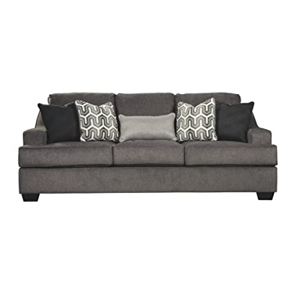 Ashley Furniture Signature Design   Gilmer Chenille Upholstered Sofa W/  Accent Pillows   Contemporary