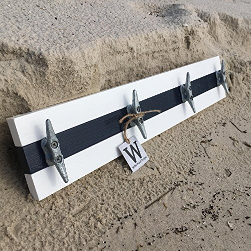 Cottage Towel Rack (Nautical Boat Cleat Coat Rack, Towel Rack, or Hat Rack, White and Navy Blue)