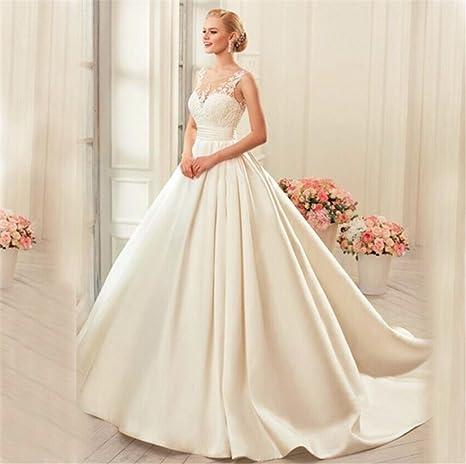 HAPPYMOODVestito da Sposa Abiti da Sposa Elegante Abito di Pizzo Bella  Bianca Festa Non Manica Dimensione 14ce3b2b0e1