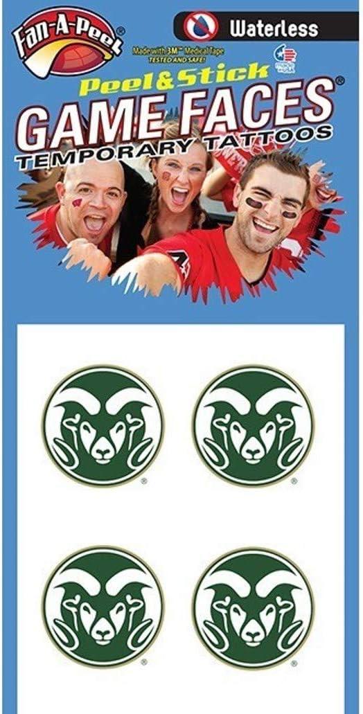 Colorado State University (CSU) Rams – Waterless Peel & Stick Temporary Spirit Tattoos – 4PK Ram Head
