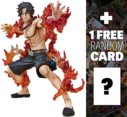Portgas D Ace - Battle Version: One Piece x Tamashii Nations Figuarts Zero Figure + 1 FREE Official One Piece Trading Card Bundle