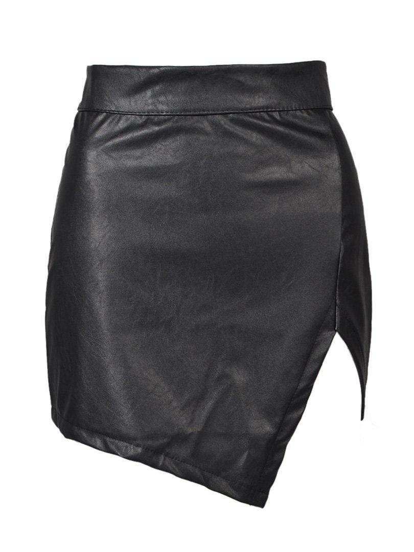 Persun Women Black Asymmetric Hem PU Skirt Black X-Small