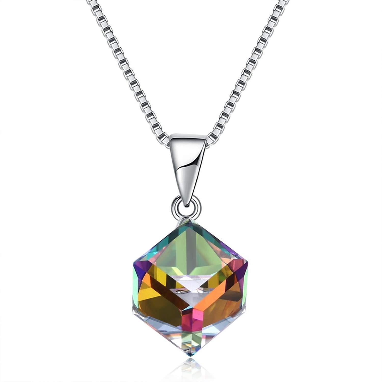 Schmuck Weihnachten Silberkette Kristall Halskette Würfel Anhänger Hohl