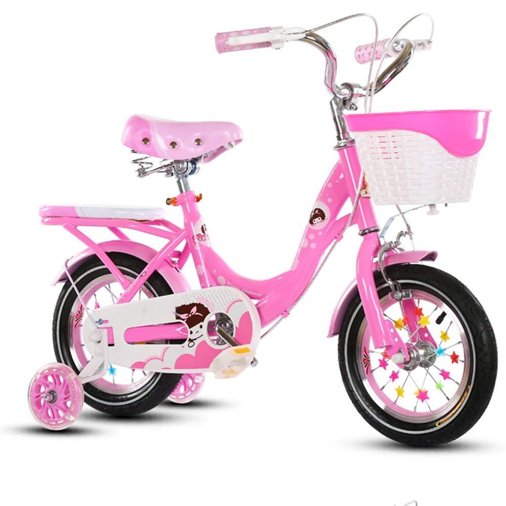 Axdwfd 子ども用自転車 キッズバイク子供の自転車男の子と女の子のサイクリング、トレーニング用ホイール12 14 16 18インチバイク子供に最適2-9歳ピンクパープル 12in Pink B07PLHWCQ4