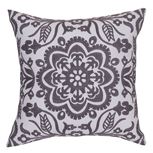 Bridgeso Square Throw Pillow Cover Anchor Rudder and Flowers Pattern embroidered Pillowcase Cushion Cover for Sofa, 1-Pack, 18