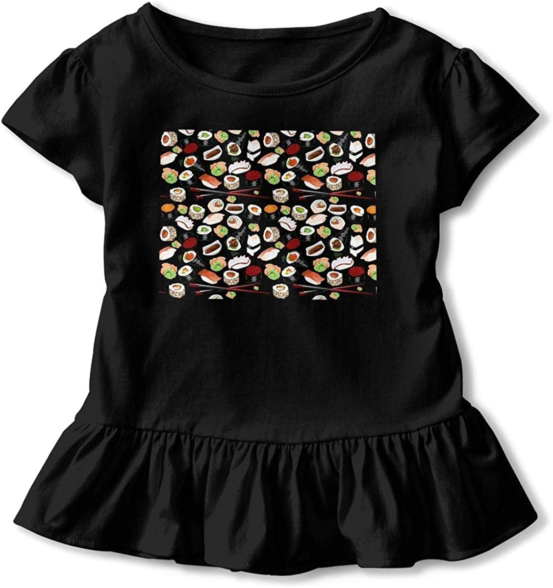 Lponvx Japanese Sushi Baby Girl Short Sleeve T-Shirt Ruffles Graphic Outfits for 2-6 Years Old Baby