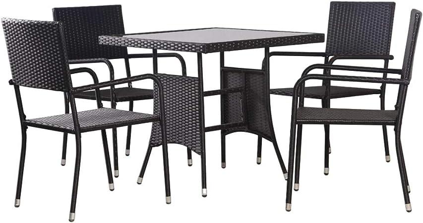 Festnight Mobilier de Salle à Manger d\'Extérieur en résine tressée Salon de  Jardin de terrasse 1 Table et 4 chaises Noir