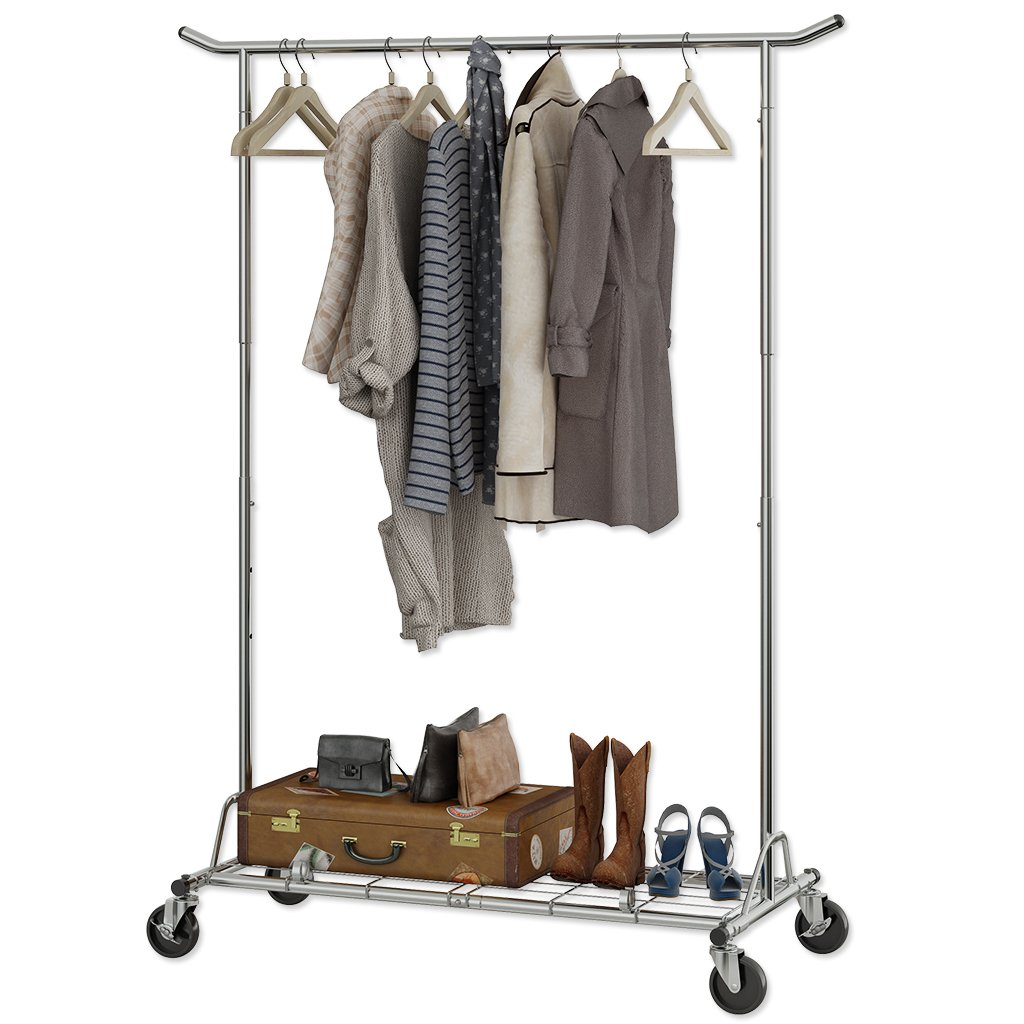 Langria heavy duty commercial grade garment clothing rack supreme rolling rack steel adjustable clothes rack chrome finish