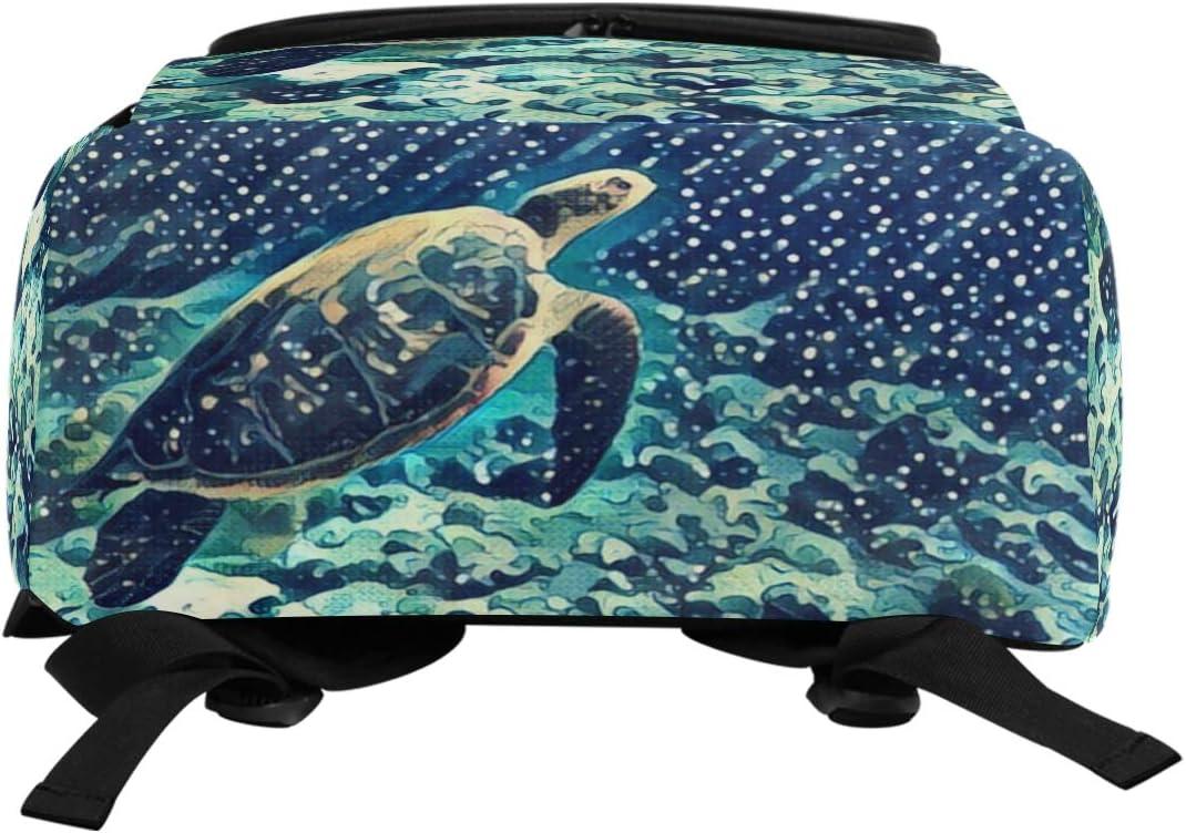 Naanle Ubderwater Sea Turtle Painting Print Casual Daypack College Students Multipurpose Backpack Large Travel Hiking Bags Computer Bag for Men Women